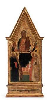 vierge à l'enfant sur un trône entourée de saints by master of san lucchese
