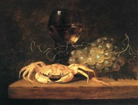 still life with a crab, grapes and a wine glass by theodorus (dirk) smits