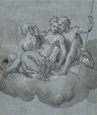 trois figures sur un nuage: étude pour un festin des dieux by carletto carliari
