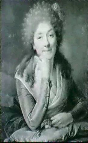 portrait de femme vue en buste tenant une jetee de roses by françois brossard de beaulieu