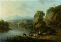 scène pastorale au bord d'une rivière by henri-joseph antonissen