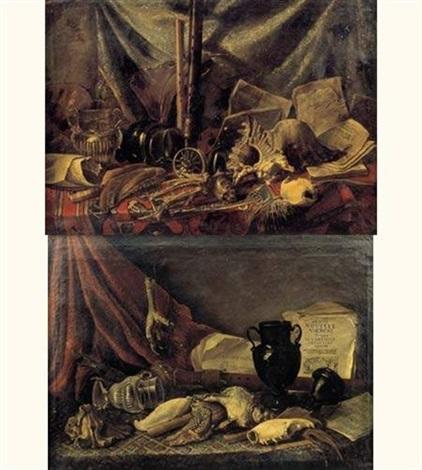 natures mortes de coquillages vases et instruments de musique sur des entablements recouverts de tapis pair by adriaen lossenbruy honich