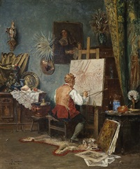 artist at his easel by vincent stoltenberg-lerche