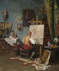 artist at his easel by vincent stoltenberg-lerche
