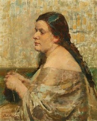 knitting woman in a grey dress by julius paulsen