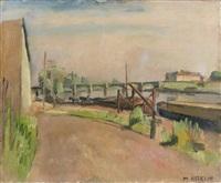 paysage de bord de rivière et pont by maurice asselin
