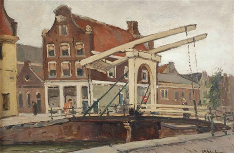 staalstraat; bridge over the groenburgwal, amsterdam (+ monnikendam, oil on canvas; 2 works) by david schulman