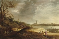 a river landscape with farmers harvesting by joachim govertsz camphuysen