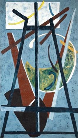 composition au chevalet sur fond bleu by abner