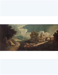 paesaggio con pastore e casa rurale by carlo lodi