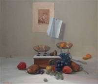 still life with fruit and scales by niccolo d'ardia caracciolo