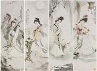 仕女 (in 4 parts) by bai bohua