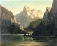 gebirgslandschaft mit see by adolf obermüllner