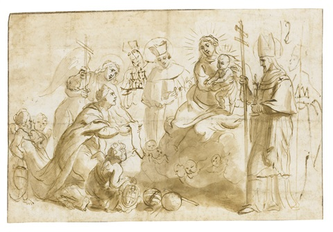 the virgin and child adored by saints by theodor van thulden