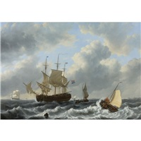 a threemast and other vessels in an estuary by johannes christiaan schotel