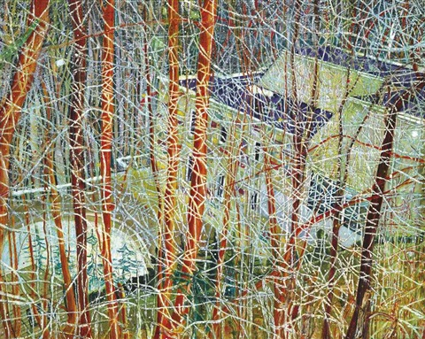 the architects home in the ravine by peter doig