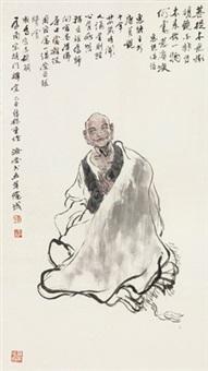 六祖 镜框 设色纸本 by liu jirong