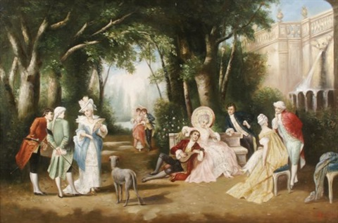 courting in the garden (after antoine coypel) by françois dupin