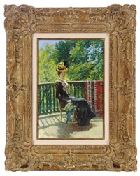 seated woman with parasol on a terrace by william thomas smedley