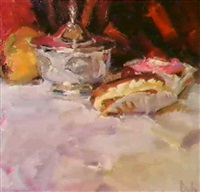 still life with sugar bowl andeclairs by mark daily