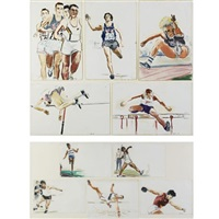untitled: ten decathlon drawings, olympic games, los angeles (in 10 parts) by billy sullivan