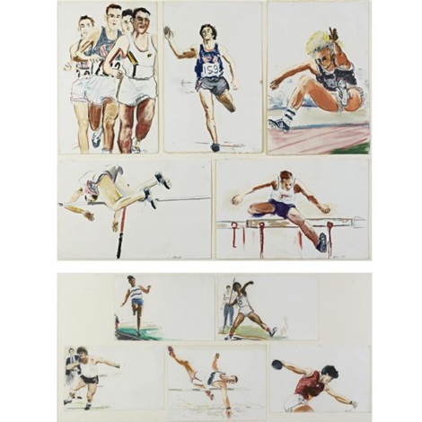 untitled ten decathlon drawings olympic games los angeles in 10 parts by billy sullivan