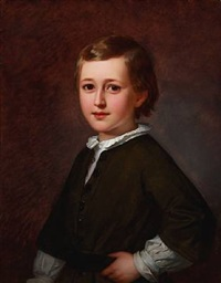 portrait of the danish ballet master and choreographer august bournonville's son edmond mozart august bournonville (1846-1904) as a child, wearing a white shirt and an olive green jacket by edvard lehmann