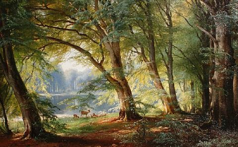 deer beside a lake by carl frederik peder aagaard
