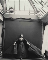 suzy parker in my studio (evening dress by dior), august by richard avedon