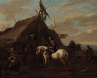 la halte des cavaliers devant une tente by pieter wouwerman