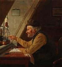 en gammel mand med sin kanariefugl by christian (jens c.) thorrestrup