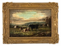 cows in the pasture by jean henri quinton