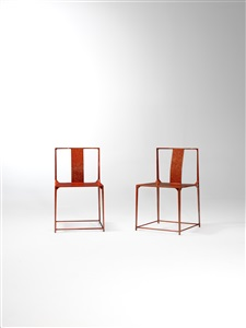 da tian di sky and earth a pair of bo luo lacquered carbon fiber chairs 大天地 红菠萝漆碳纤维对椅  by shang xia