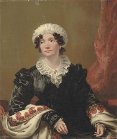 portrait of a lady seated in a black dress with shawl and white mob cap by andrew geddes