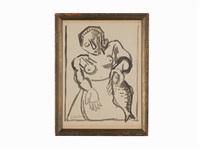 woman with fish by david davidovich burliuk