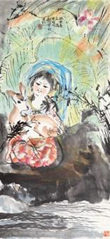 少女与鹿 立轴 设色纸本 by cheng shifa