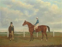 a bay racehorse with jockey up, and his owner, on a racecourse by james loder of bath