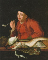 a man smoking a pipe at a fish stall by balthasar nebot