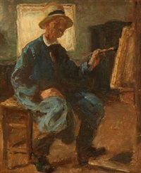 the artist's self-portrait at the easel by julius paulsen