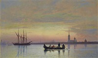 the neva at dusk, st. petersburg by lev felixovich lagorio