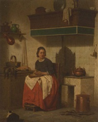 woman in interior preparing a meal by charles joseph grips