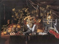 grapes, pears, quinces, peaches, prawns, oysters and a pastry on pewter plates with lemons, an orange, a tazza, a roemer, a cup and cover... by wouter mertens