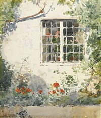 flowers against a white wall by childe hassam