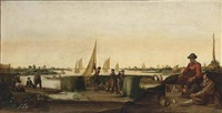 an extensive river landscape with fishermen and their boats, a couple with their ware in the right foreground by arent (cabel) arentsz
