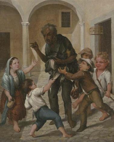 el claco de risa (un hombre en harapos rodeado de niños) by josé agustín arrieta