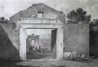 a gateway in the turkish wall around athens, mount aigalaos beyond by edward dodwell