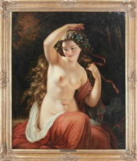 a nude beauty with red drape by friedrich von amerling