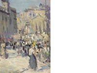 a busy day, princes street, edinburgh by john duncan fergusson
