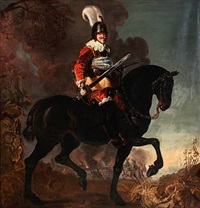 portrait of king christian iv of denmark on horseback by karel van mander iii