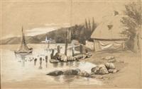 chaumière et petits voiliers au bord de l'eau by eugène boudin